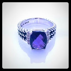 David Yurman Petite Wheaton 6 Amethyst Ring